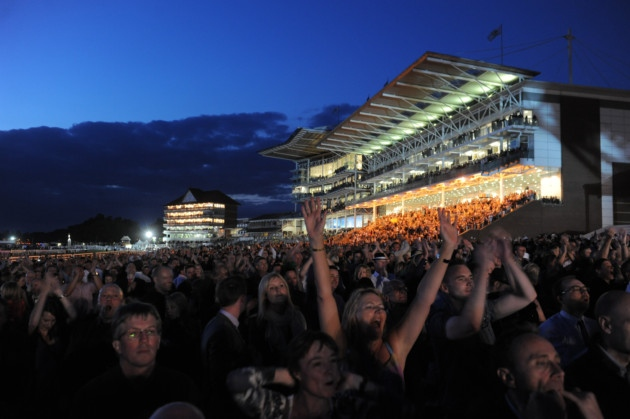 picture of horse racing - york racecourse at night